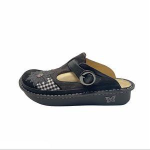 ALEGRIA Classic Black Plaid Women's Clog Size 41